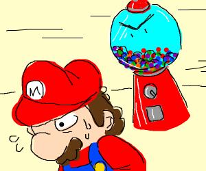 Mario runs from angry gumball machine