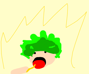 Green Haired Boy Eats Hair to Power Up