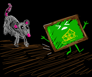 mouse chases a chalk board