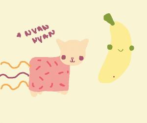 nyan cat and a cute banana