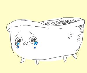 A crying empty bathtub