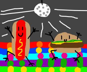 hotdog and hamburger at da club
