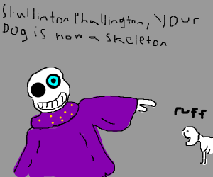 Sans turns doggo into skeleton doggo