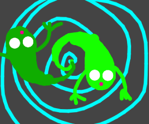 Green ghosts getting sucked into a vortex