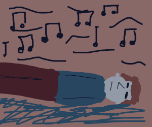 person falling asleep to music