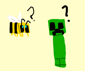 A Minecraft bee meeting a Creeper