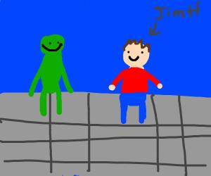 Kermit sitting with Jim Henson