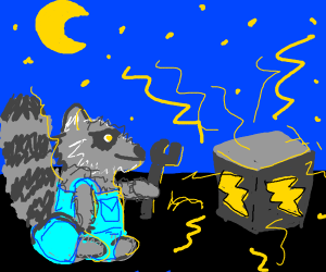 Racoon with electricity machine