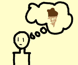 man thinking about chocolate ice cream