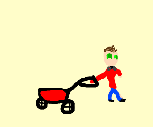 Fancy Little Boy With Red Wagon