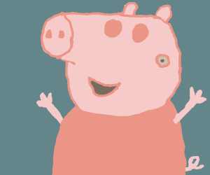 peppa pig but eyes and nose switched around