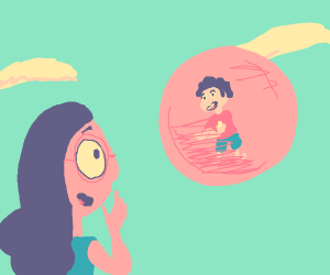 Steven in his bubble, Connie watches