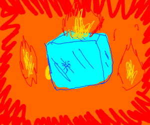Ice cubes somehow on fire