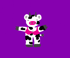 black and white cow with a pink bra and
