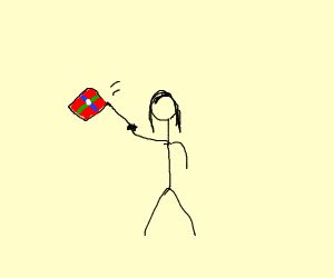Woman waves a flag around
