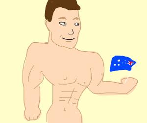 Bodybuilder with flag from Australia