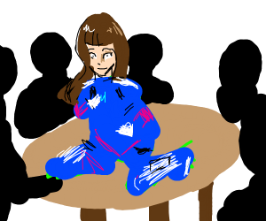 Dva is sitting on a table surrounded