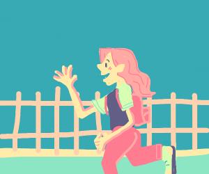 Girl walks home from school