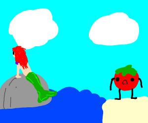 Tomato man sees a mermaid