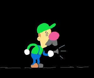 Luigi with a broken flashlight