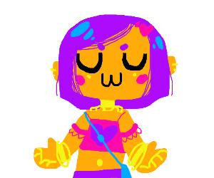 Cute UwU-faced, jewelry-clad pastel girl