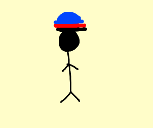 person who's wearing three hats(black,red,blu