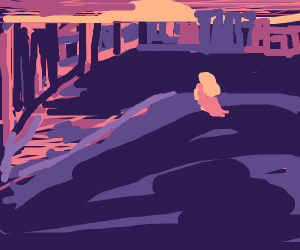 Girl watches sunset over city