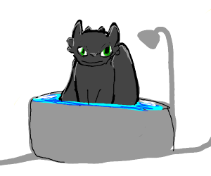 Toothless having a bath