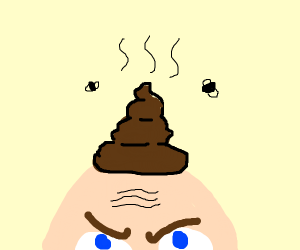 Bald guy with poop on his head :(
