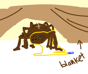 Tarantula hiding with a Necklace