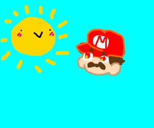 Mario staring directly at the sun