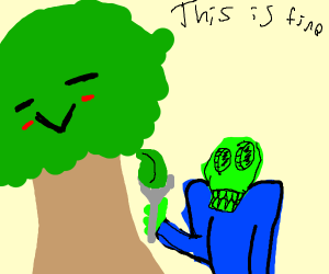 a zombie eating a tree with a fork