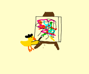 Baby chick attempts abstract painting