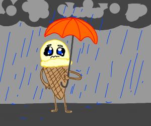sad ice cream cone in the rain with umbrella