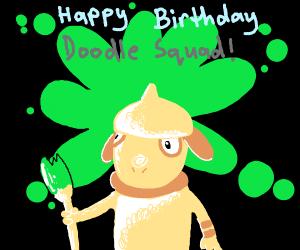 happy birthday doodle sqad