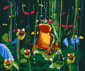 Frog in a rainforest surrounded by unseen mon
