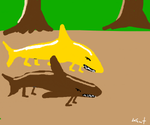 Brown and yellow land shark