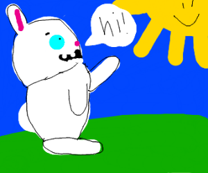 rabbit saying hello to the sun