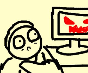 little boy gets scared by bad internet stuff