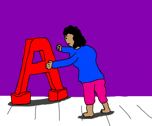 girl struggling with an A