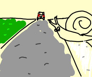 Snail crossin the road