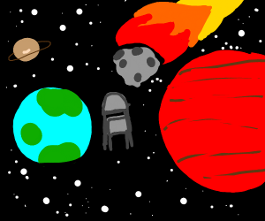 Folding chair in space gets hit by meteor