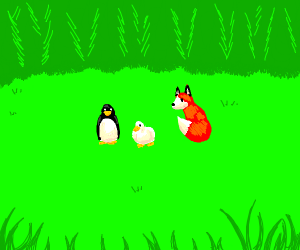 duck and penguin in a field beside red box
