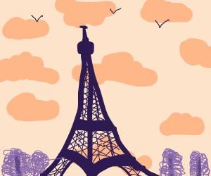 Sky view Eifel tower Paris