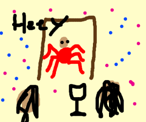 spider guy entering doors to party