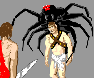 two men but one has a giant spider on his bac