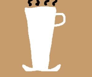 A very tall cup of joe (coffee).