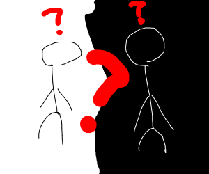 Confused black and white stick people