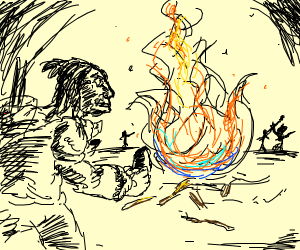 Cavemen create fire