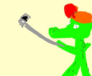 Swaggy alligator taking selfie xD